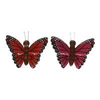 2x Houten magneten vlinders rood en roze