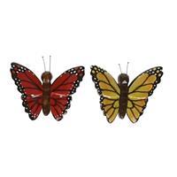 2x Houten magneten vlinders rood en geel