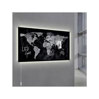 Glasmagneetbord  Artverum LED 910x460x15 wereldkaart