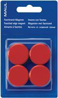 Maul magneet MAULsolid, diameter 38 mm, rood, blister van 4 stuks
