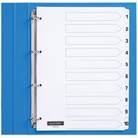 Quantore Tabbladen  4-gaats 1-10 genummerd wit karton