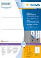 Verwijderbare ordneretiketten Herma 10141 A4 192x61 mm wit Movables/verwijd. papier mat ondoorzichtig 400 st.