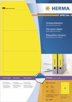 Ordneretiketten Herma 4296 A4 192x61 mm geel papier mat ondoorzichtig 400 st.