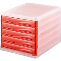 Helit ladenkastje, 5 laden licht grijs / rood transparant