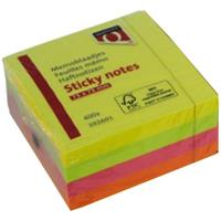 Quantore Memoblaadjes  75x75mm neon kleuren assorti 4 kleuren
