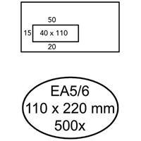 Quantore 500 Zelfklevende enveloppen met venster links EA5/6 110 x 220 mm