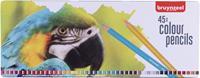 Kleurpotloden  papegaai blik à 45 stuks assorti