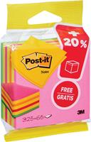 Post-it Notes kubus ft 76 mm x 76 mm, Neon, blok van 325 + 65 vel gratis, op blister
