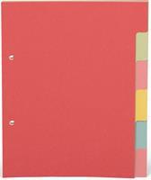 Pergamy tabbladen ft A5, 2-gaatsperforatie, karton, geassorteerde pastelkleuren, 6 tabs