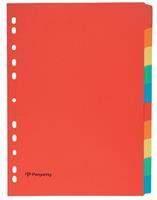Pergamy tabbladen ft A4, 11-gaatsperforatie, karton, geassorteerde kleuren, 10 tabs