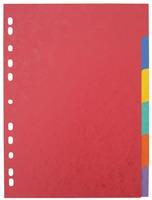 Pergamy tabbladen ft A4 maxi, 11-gaatsperforatie, stevig karton, geassorteerde kleuren, 6 tabs
