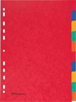 Pergamy tabbladen ft A4, 11-gaatsperforatie, stevig karton, geassorteerde kleuren, 10 tabs