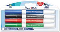 Paper Mate whiteboardmarker met fijne punt, blister van 4 stuks, geassorteerde kleuren