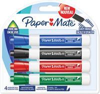 Paper Mate whiteboardmarker met schuine punt, blister van 4 stuks, geassorteerde kleuren