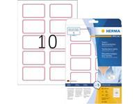 Herma 4405 Etiketten (A4) 80 x 50 mm Acetaatzijde Wit, Rood 200 stuk(s) Weer verwijderbaar Naametiketten