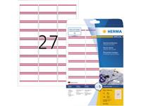 Herma 4512 Etiketten (A4) 63.5 x 29.6 mm Acetaatzijde Wit, Rood 540 stuk(s) Weer verwijderbaar Naametiketten