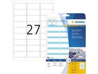 Herma 4513 Etiketten (A4) 63.5 x 29.6 mm Acetaatzijde Wit, Blauw 540 stuk(s) Weer verwijderbaar Naametiketten