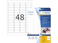Herma 4232 Etiketten (A4) 45.7 x 21.2 mm Folie, mat Wit 1200 stuk(s) Extra sterk hechtend Veiligheidsetiketten