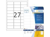 Herma 4511 Etiketten (A4) 63.5 x 29.6 mm Acetaatzijde Wit 540 stuk(s) Weer verwijderbaar Naametiketten