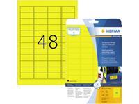 Herma 8030 Etiketten (A4) 45.7 x 21.2 mm Polyester folie Geel 1200 stuk(s) Extra sterk hechtend Folie-etiketten