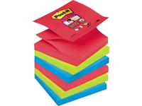 Post-it Plaknotitie R3306SJ 76 mm x 76 mm Papaverrood, Neon-groen, Ultrablauw 540 vellen