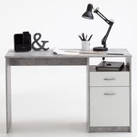 FMD Bureau met 1 lade 123x50x76,5 cm betonkleurig en wit