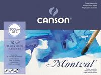 Montval aquarelpapier, wit met fijne korrel 300 g/m², ft 36 x 48 cm, blok met 12 vellen