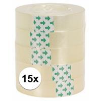 15 rolletjes plakband Transparant