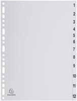 Exacompta tabbladen numeriek voor ft A4, uit PP, grijs, 12 tabs