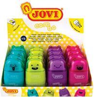 Jovi potloodslijper/gum Combo, display van 16 stuks in geassorteerde kleuren