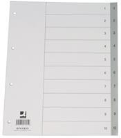 Q-Connect tabbladen set 1-10, met indexblad, ft A4, grijs