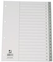 Q-Connect tabbladen set 1-20, met indexblad, ft A4, grijs