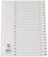 Q-Connect tabbladen set 1-20, met indexblad, ft A4, wit