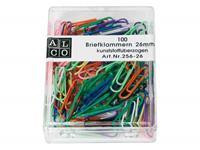 Alco paperclips  26mm rond doos a 100 stuks assorti kleuren