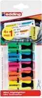 Edding mini markeerstift 7, blister met 5 stuks (4 + 1 gratis) geassorteerde kleuren
