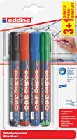 Edding whiteboardmarker 360, etui met 4 stuks (3 + 1 gratis) in geassorteerde kleuren