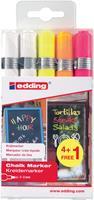 Edding krijtmarker 4095, geassorteerde kleuren, etui van 5 stuks (4 + 1 gratis)