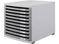 HAN 1510-0-19, schuifladenbox contour, 10 open laden, lichtgrijs-donkergrijs
