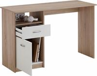fdfurniture Bureau Jackson 123 cm breed - Eiken met wit