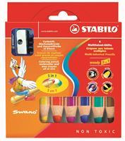 Stabilo kleurpotlood woody 3in1, etui met 6 potloden en slijper