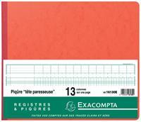 Exacompta registers, ft 27 x 32 cm, 13 kolommen op 1 bladzijde, 31 lijnen, 80 bladzijden
