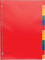 Pergamy tabbladen, ft A4, 23-gaatsperforatie, PP, geassorteerde kleuren, set 1-12