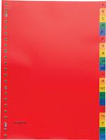 Pergamy tabbladen, ft A4, 23-gaatsperforatie, PP, geassorteerde kleuren, A-Z