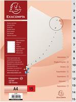Exacompta tabbladen numeriek voor ft A4, uit PP, 15 tabs, met indexblad, wit