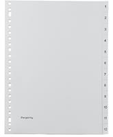 Pergamy tabbladen, ft A4, 23-gaatsperforatie, grijze PP, set 1-12
