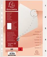 Exacompta tabbladen numeriek voor ft A4, uit PP, 5 tabs, met indexblad, wit