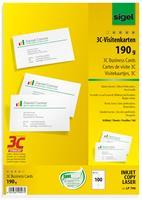 sigel LP796 Visitekaartjes 85 x 55 mm 225 g/m2 Wit 400 Stuks