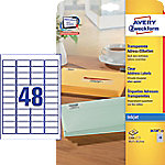 AVERY Zweckform J4720-25 Multifunctionele etiketten A4 Transparant 45,7 x 21,2 mm 25 Vellen à 48 Etiketten