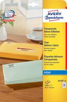 AVERY Zweckform J8560-25 Multifunctionele etiketten A4 Transparant 63,5 x 38,1 mm 25 Vellen à 21 Etiketten
