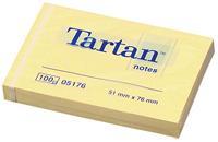 tartan Notes 76 x 76 mm Geel 100 Vellen